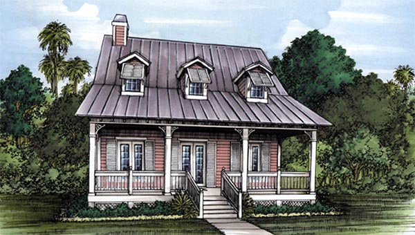 Florida House Plan 58950 with 3 Beds, 2 Baths Elevation