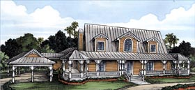 House Plan 58954 | Florida Style Plan with 3495 Sq Ft, 3 Bedrooms, 3 Bathrooms, 3 Car Garage Elevation