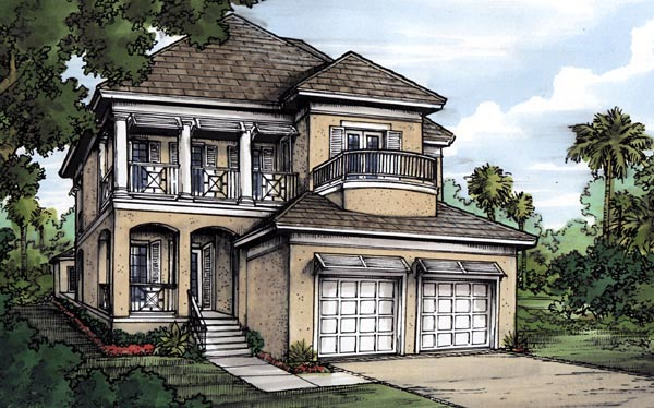 Florida House Plan 58963 with 4 Beds, 4 Baths, 2 Car Garage Elevation
