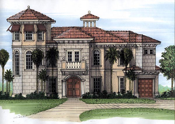 Florida House Plan 58971 with 3 Beds, 4 Baths, 1 Car Garage Elevation