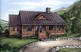 Cabin Log House Plan 58982 Elevation