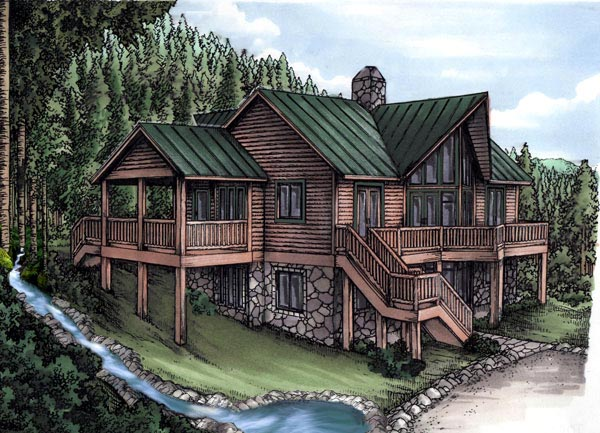 Cabin Log House Plan 58983 Elevation