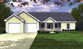 House Plan 59005 | Country, Ranch, Traditional Style House Plan with 1426 Sq Ft, 3 Bed, 2 Bath, 2 Car Garage Elevation