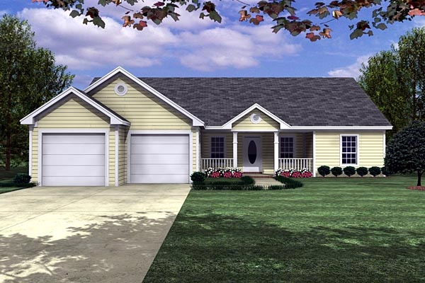 Ranch , Traditional House Plan 59006 with 3 Beds, 2 Baths, 2 Car Garage Elevation
