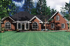 European House Plan 59007 with 3 Beds, 2 Baths, 2 Car Garage Elevation