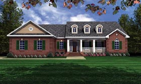 House Plan 59011 | European Ranch Traditional Style Plan with 1751 Sq Ft, 3 Bed, 2 Bath, 2 Car Garage Elevation