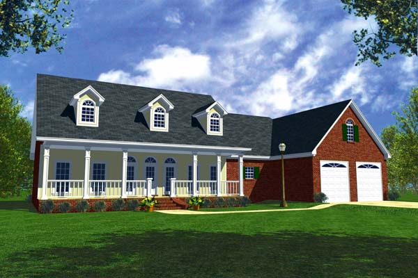 Country Ranch Southern Traditional House Plan 59012 Elevation