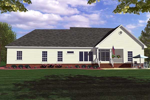 Country Farmhouse Ranch House Plan 59013 Rear Elevation