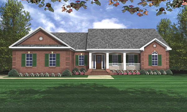 Country Ranch Traditional Elevation of Plan 59017