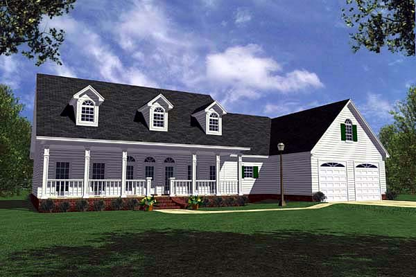 Country , Farmhouse , Ranch , Southern House Plan 59018 with 3 Beds, 3 Baths, 2 Car Garage Elevation