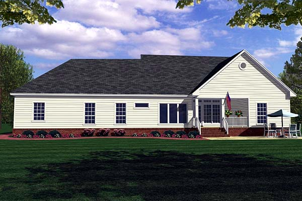 Country, Modern Farmhouse, Ranch, Southern House Plan 59018 with 3 Beds , 3 Baths , 2 Car Garage Rear Elevation