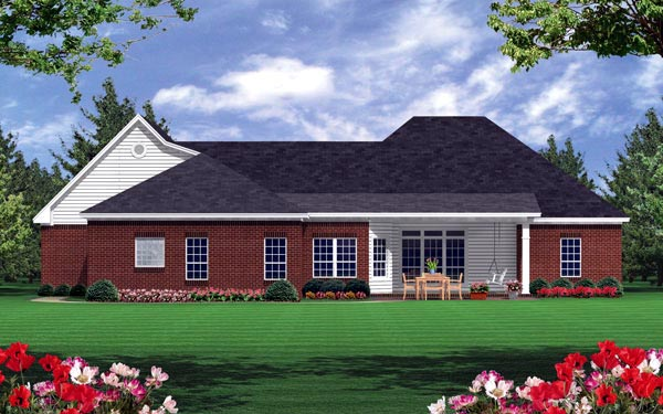 European Ranch Traditional House Plan 59019 Rear Elevation