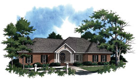 House Plan 59020 | European Ranch Traditional Style Plan with 1896 Sq Ft, 3 Bedrooms, 3 Bathrooms, 2 Car Garage Elevation