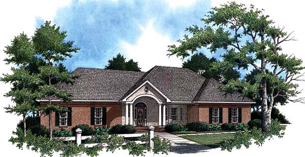 European Ranch Traditional House Plan 59020 Elevation