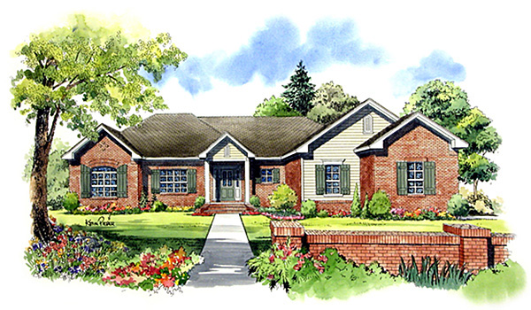 European Ranch Traditional House Plan 59021 Elevation