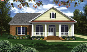 Traditional , Southern , Colonial House Plan 59022 with 3 Beds, 3 Baths, 2 Car Garage Elevation