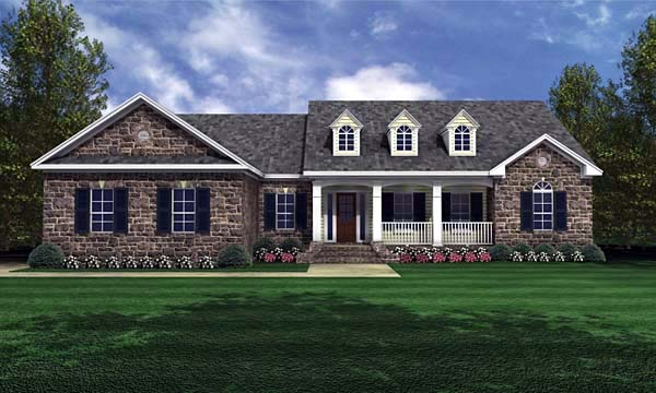Country , Ranch , Traditional House Plan 59024 with 3 Beds, 2 Baths, 2 Car Garage Elevation