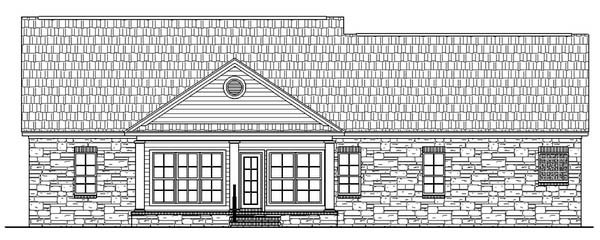 Country , Ranch , Traditional House Plan 59024 with 3 Beds, 2 Baths, 2 Car Garage Rear Elevation