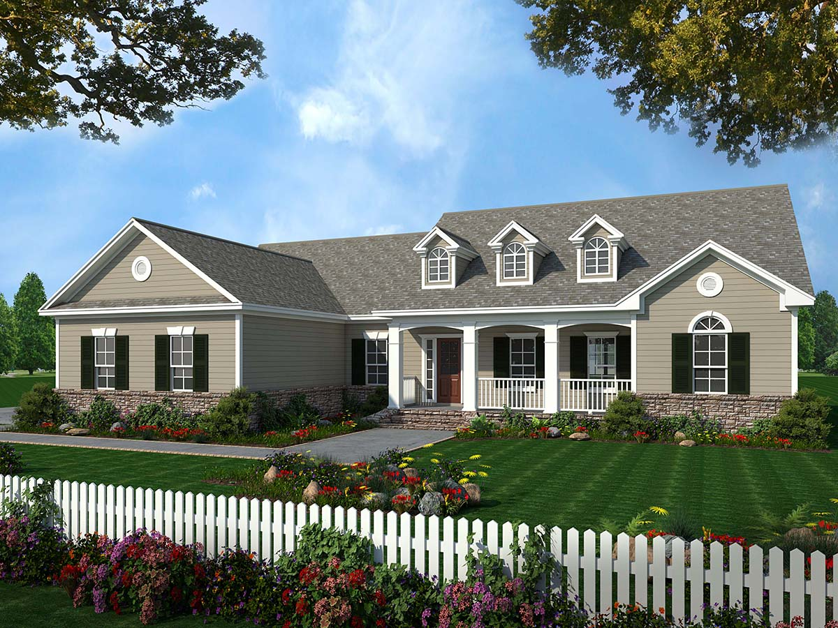 Country Ranch Traditional Elevation of Plan 59025