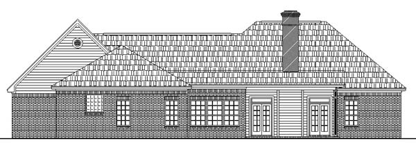 European , Ranch , Traditional , Rear Elevation of Plan 59026