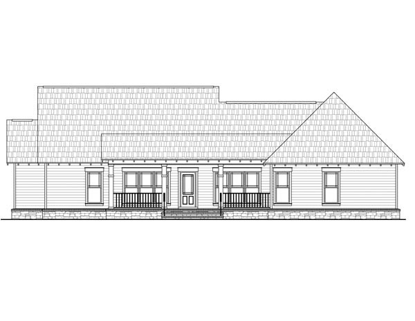 Cottage Country Craftsman House Plan 59027 Rear Elevation