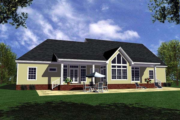 Country Farmhouse Ranch Southern House Plan 59029 Rear Elevation