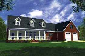 Southern , Ranch , Farmhouse , Country House Plan 59030 with 3 Beds, 3 Baths, 2 Car Garage Elevation