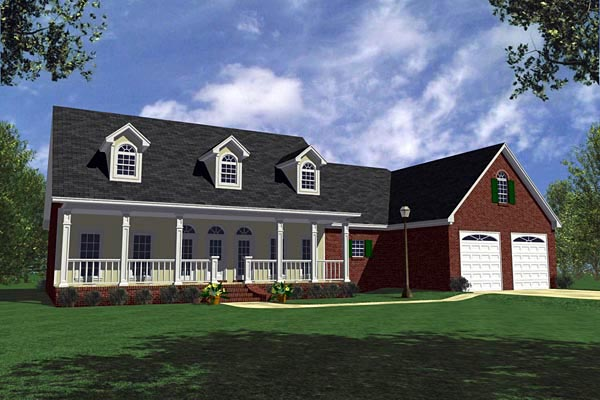 Country Farmhouse Ranch Southern House Plan 59030 Elevation