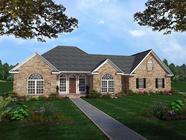 European, French Country, Ranch, Traditional House Plan 59031 with 3 Beds, 4 Baths, 2 Car Garage Elevation