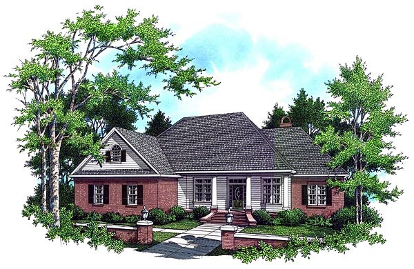 Country European French Country Traditional Elevation of Plan 59034