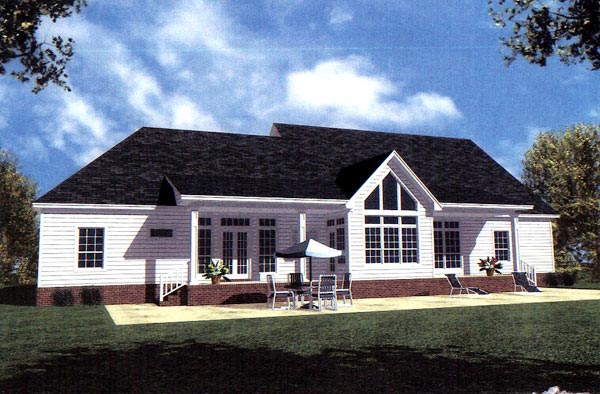 Country, Farmhouse, Ranch, Southern House Plan 59036 with 4 Beds, 3 Baths, 2 Car Garage Rear Elevation