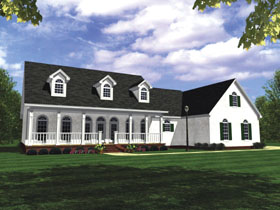 Country Farmhouse Ranch Southern House Plan 59037 Elevation