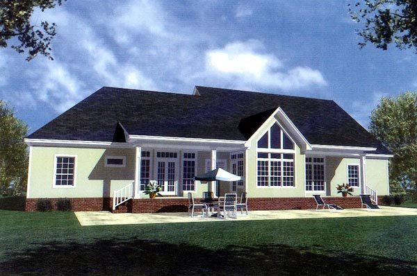 Country Farmhouse Ranch Southern House Plan 59037 Rear Elevation