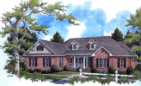 Country, European, Southern, Traditional House Plan 59038 with 4 Beds, 3 Baths, 2 Car Garage Front Elevation