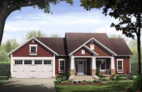 Bungalow , Cottage , Craftsman House Plan 59042 with 3 Beds, 2 Baths, 2 Car Garage Elevation