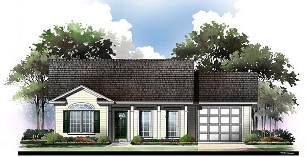 Country , Ranch , Traditional House Plan 59044 with 2 Beds, 2 Baths, 1 Car Garage Elevation