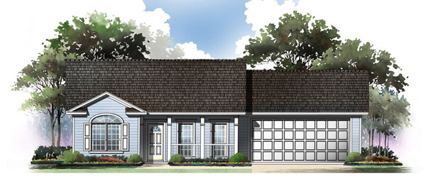 Cape Cod, Country, Ranch, Traditional House Plan 59045 with 2 Beds , 2 Baths , 2 Car Garage Elevation