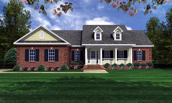 Traditional , Country House Plan 59050 with 3 Beds, 2 Baths, 2 Car Garage Elevation