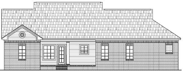 Traditional , Country House Plan 59050 with 3 Beds, 2 Baths, 2 Car Garage Rear Elevation
