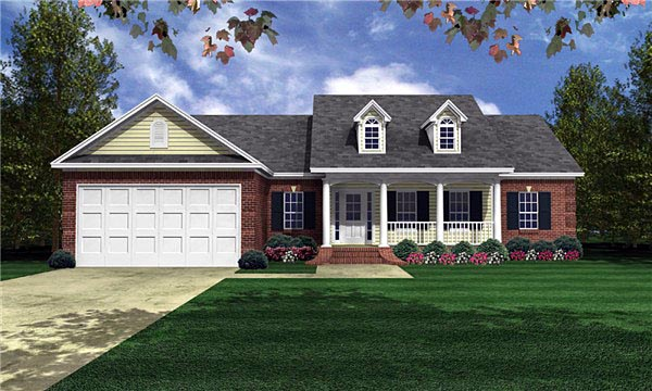 Cape Cod , Country , Ranch , Traditional House Plan 59051 with 3 Beds, 2 Baths, 2 Car Garage Elevation