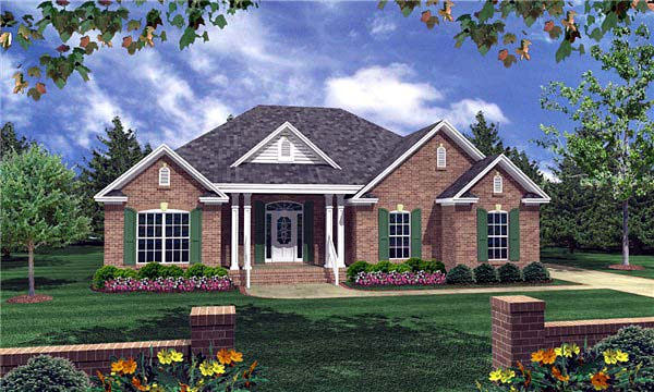 Cottage, European, Traditional House Plan 59053 with 3 Beds, 2 Baths, 2 Car Garage Elevation