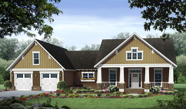 Cottage, Country, Craftsman House Plan 59054 with 3 Beds, 2 Baths, 2 Car Garage Elevation