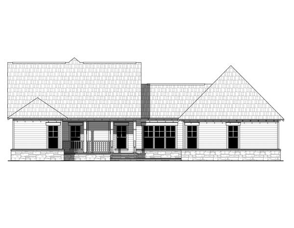 Cottage Country Craftsman House Plan 59054 Rear Elevation