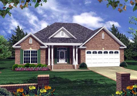 Cottage, Country, Southern, Traditional House Plan 59056 with 3 Beds , 2 Baths , 2 Car Garage Elevation