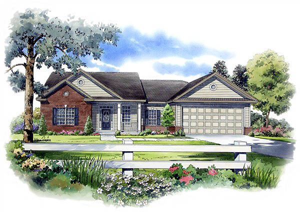 Cape Cod , Ranch , Traditional House Plan 59057 with 3 Beds, 2 Baths, 2 Car Garage Elevation