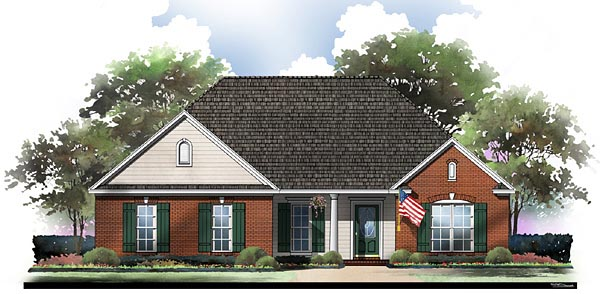 Traditional , Ranch , European , Country House Plan 59058 with 3 Beds, 2 Baths, 2 Car Garage Elevation