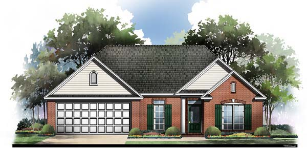 European , Ranch , Traditional , Elevation of Plan 59060