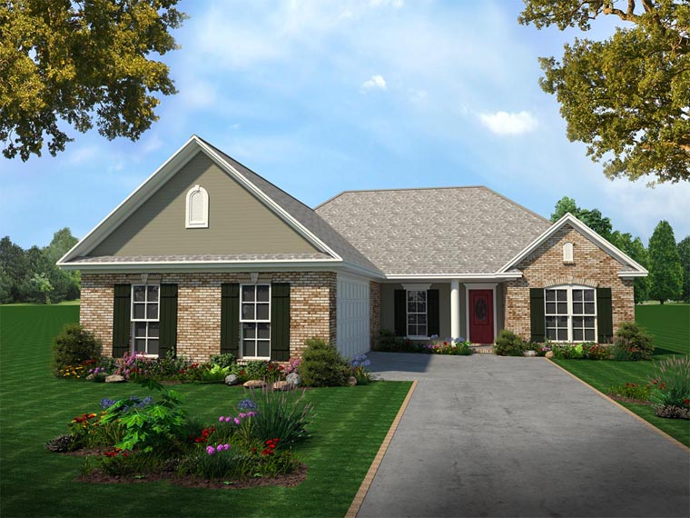 European, Ranch, Traditional House Plan 59061 with 3 Beds, 2 Baths, 2 Car Garage Elevation