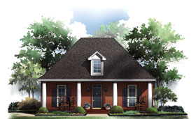 Traditional , European , Cottage , Colonial House Plan 59064 with 3 Beds, 2 Baths, 2 Car Garage Elevation