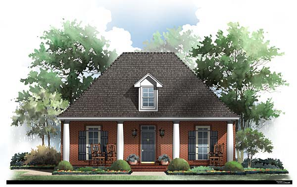 Colonial, Cottage, European, Traditional House Plan 59064 with 3 Beds, 2 Baths, 2 Car Garage Elevation
